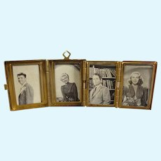 Miniature Folding Locket Frame Holding Four Pictures