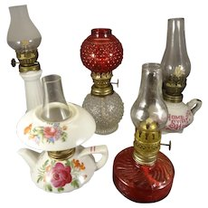 Group of Five Miniature Oil Lamps