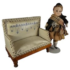 "5"" Bisque Doll with Rare Ruffled Limbs Scottish Attire"