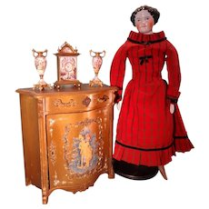 French Paint Decorated Commode Cabinet in Doll Size