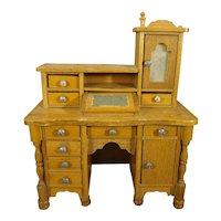Rare Golden Oak Desk with Lift Top Box