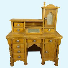 Rare Golden Oak Desk with Lift Top Box