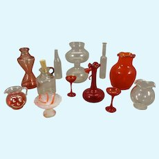 Group of Miniature Glass in Red and Colorless