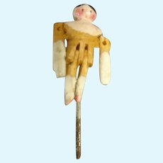 Tiniest Grodnertal Peg Wooden Doll with Pink Tint