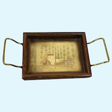 Miniature Tray with Picture of Bedroom Scene