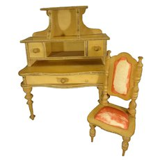 Antique French Doll House Desk and Chair as found