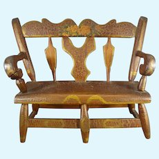 Outstanding Early Miniature Folk Art Bench Settee
