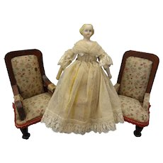 """5"""" Parian Bisque Doll House Doll with Blonde Sculpted Hair"""