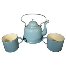 Blue Granite Teapot and Cups
