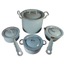 Blue Granite Pot Set with Lids