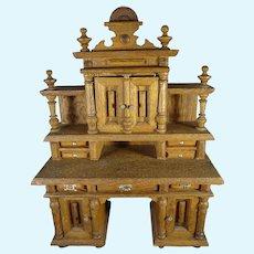 Grand  German Oak Desk Buffet Sideboard