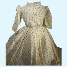 Early Cotton Print Dress with Pleated Bodice
