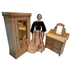 Doll Size Dresser and Armoire with Mirror Front
