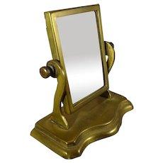 Miniature Brass Shaving Mirror for Doll Display