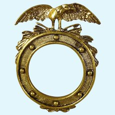 Miniature Round Brass Frame with Eagle for Doll House