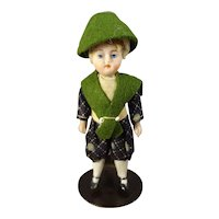 """3 1/2"""" All Bisque Doll House Boy in Original Costume"""