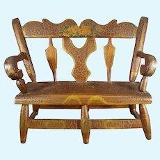 Outstanding Early Miniature Folk Art Bench Settee