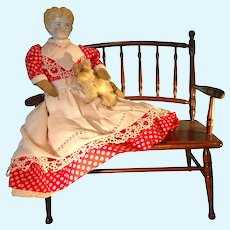 """19"""" Blonde Hair China in Red Calico Dress Apron"""