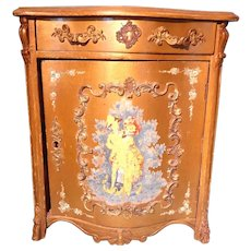 French Commode Doll Size Cabinet Paint Decorated