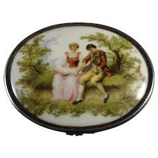 Beautiful Silver Box with Porcelain Romantic Scene
