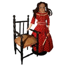 """15"""" Bisque Doll with Sleep Eyes in Early Dress"""