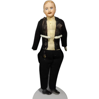 """7 1/2"""" Doll House Gentleman with Moustache in Tuxedo"""