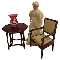 Red Gottschalk Table and Chair Large Doll House Scale