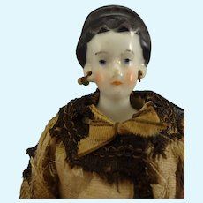 """Early 7 1/2"""" Black Hair China with Rare Hair and Earrings"""