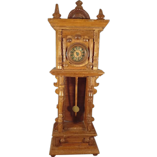 Antique Miniature Tall Case Grandfather Clock