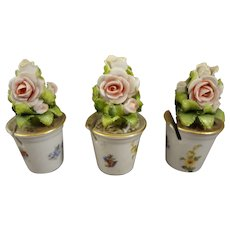 German Miniature Porcelain Planters for Doll House or Name Cards