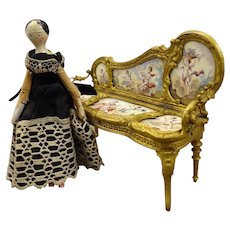 Petite Grodnertal Doll in Lace Trimmed Dress