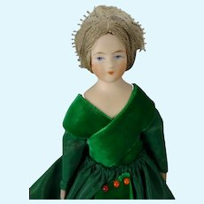 """7"""" Bisque Doll House Lady Nicely Dressed"""