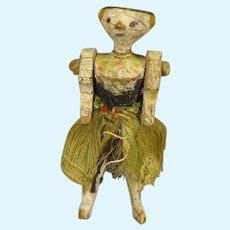 Tiny Grodnertal Doll Peg Wooden
