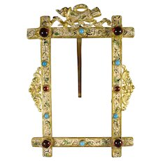 Gilt Bronze Frame with Faux Stones and Ormolu Accents