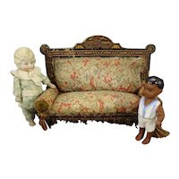 """3 1/2"""" Adorable All Bisque Pin Jointed Doll with Bare Feet"""
