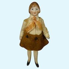 """3 1/4"""" All Bisque Flapper Doll in Original Costume"""