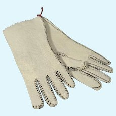 Fashion Doll's White Leather Gloves