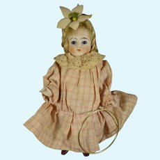 """5"""" All Bisque Doll with Glass Eyes and Hoop"""