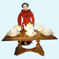 Doll Size Antique Oak Pedestal Table