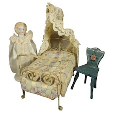 Miniature Doll House Bed with Canopy and Great Quilt