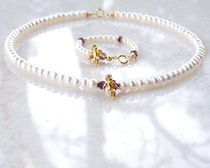 Infant Toddler Fw Pearl Birthstone Baby Bracelet Aaa Tiny Round Fresh Water Pearls