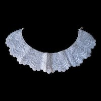 Vintage White Lace Collar with Pearl -Look Elastic Fastener
