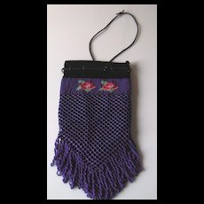 Vintage Blue Beaded Drawstring Purse with Roses
