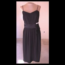 Vintage Black Sleeveless Dress with Bow and Rhinestones