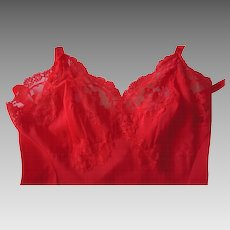 Vintage  Artemis Red Slip with Pretty Lace