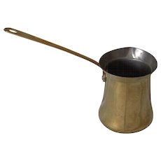Vintage Tin with Brass Finish Long Handled Vessel
