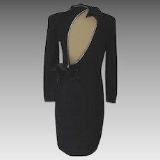Vintage St John Black Cocktail Dress with Rhinestones