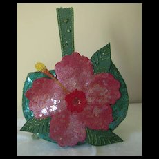 Vintage Sequined Green Purse with Pink Flower
