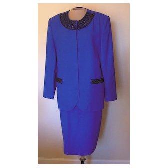 Vintage Royal Blue John Meyer Suit with Black Beading