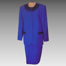 Vintage Royal Blue John Meyer Suit with Black Beading